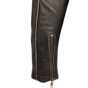 Image 5 - בציר אופנוע מעיל גברים מעילי עור עבה 100% עור פרה אמיתי עור מעיל חורף אופנוען Moto בגדי M456