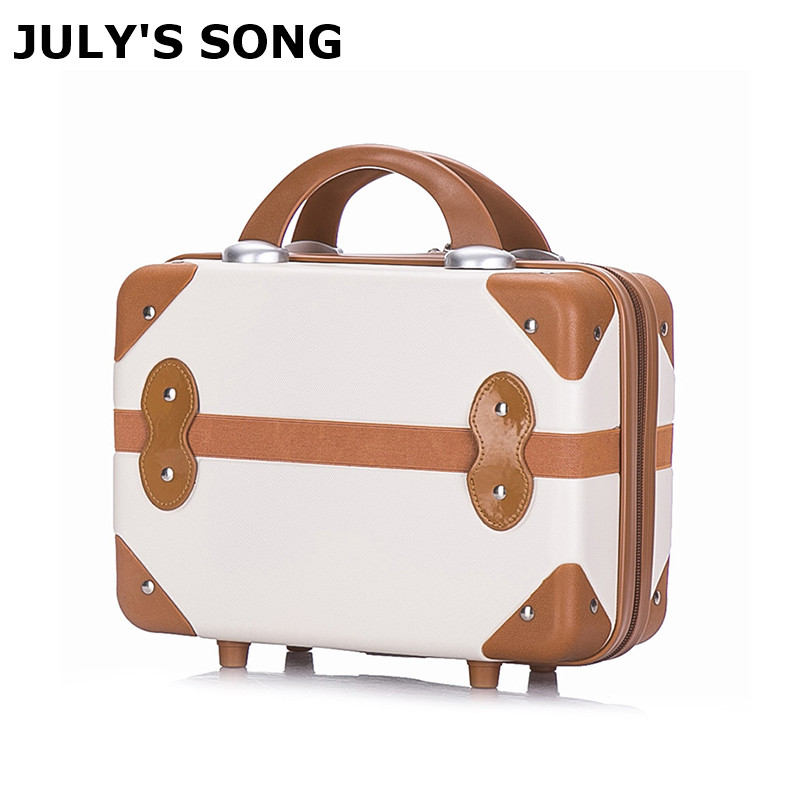 JULY'S SONG 14inch Cosmetic Case Retro Suitcase Short Suitcase Cute Lady Storage Bag Travel Mini Suitcase