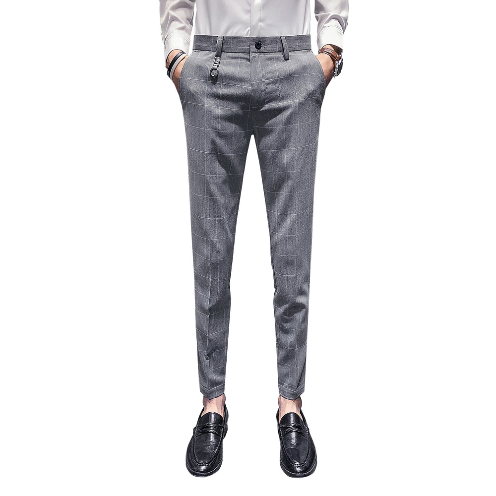 Men's Trousers Spring Autumn 2019 New Business Casual Leg Pants Nine Points Trousers Straight Trousers Young Men's Suit Pants