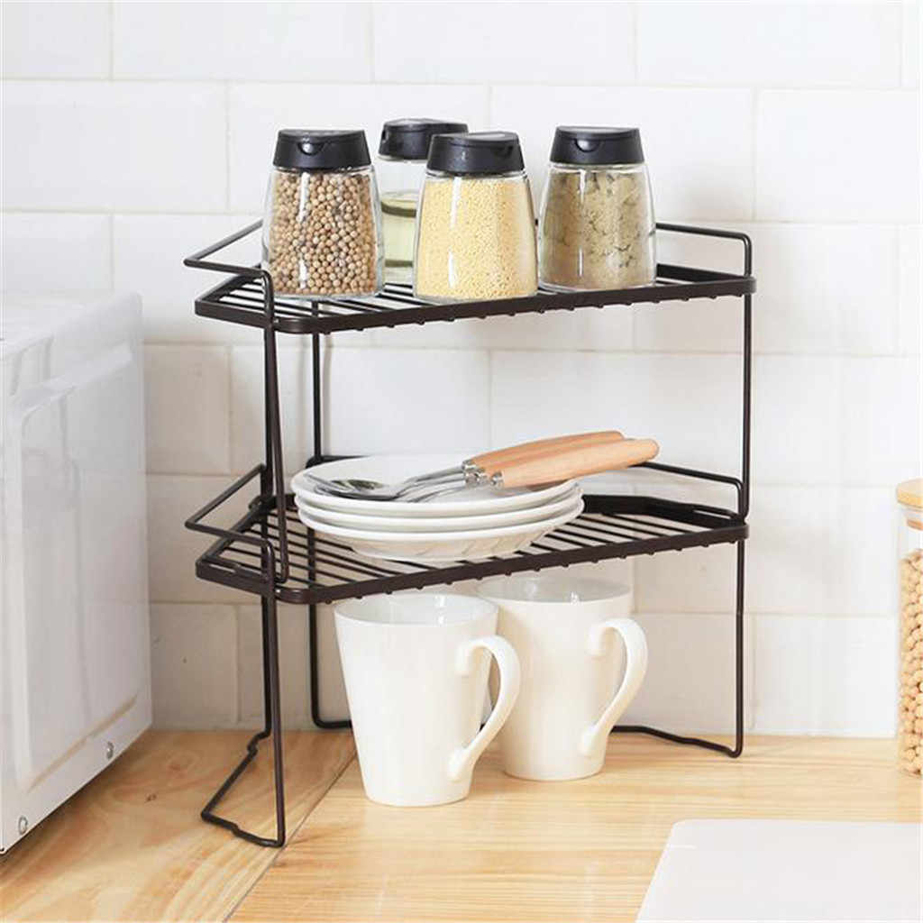 Double Wrought Iron Floor Storage Holder Home Magazine Books Bathroom Toiletries Rack Kitchen Condiment Bottles Storage Shelf