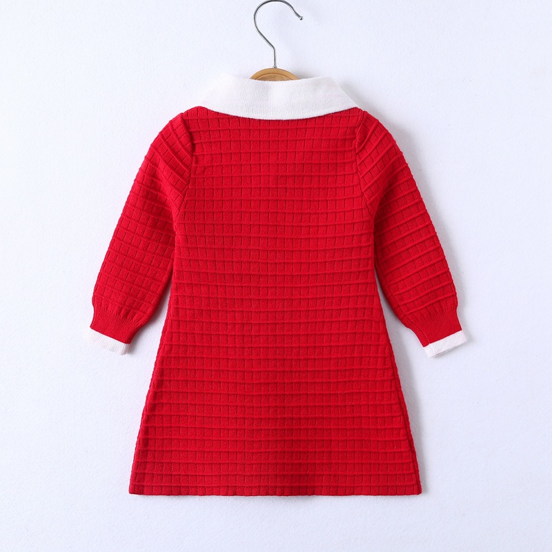 2019 New Style Gril's Dress High Lapel Bow Long Sleeve Plaid Korean-style Princess Dress Factory Price