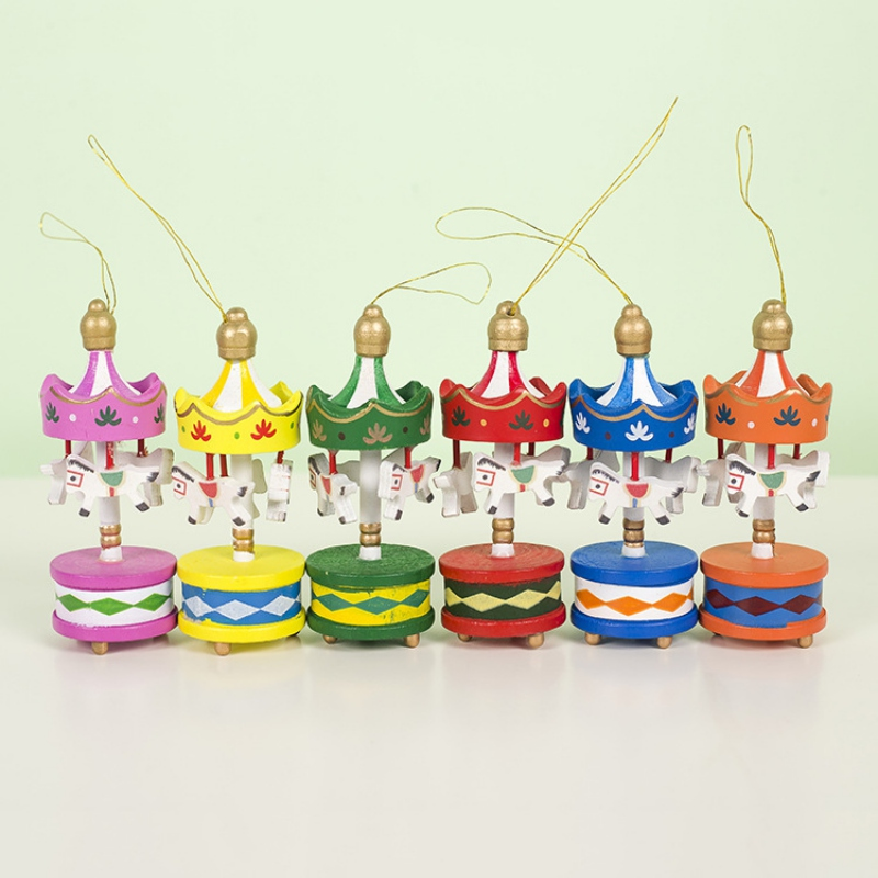 Wedding Decoration Wooden Carousel Horse Kids Christmas Gifts Birthday Gift Vintage Hanging Pendant Christmas Tree Ornaments