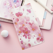 Pink Cherry blossoms Series A5 A6 Spiral Notebook Loose Leaf Separator Pages Refill Paper Inside