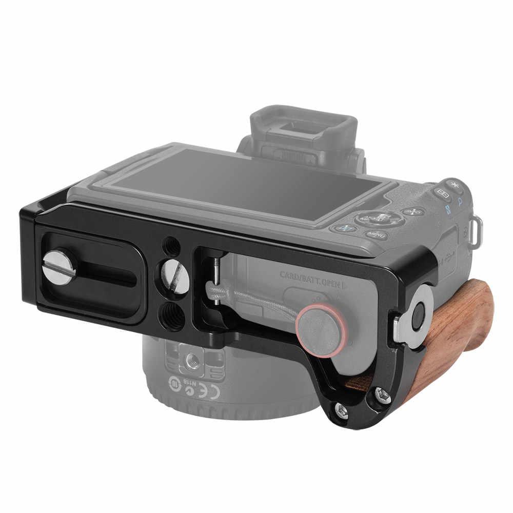 Smallrig Plat L untuk Canon EOS M50 L Berbentuk Mounting Plate Rilis Cepat L Bracket Plate dengan Gagang Kayu- 2387