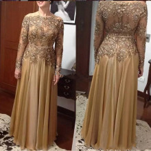 Mother-Of-The-Bride-Dresses Wedding-Guest Chiffon Plus-Size Lace Long-Sleeve Gold A-Line