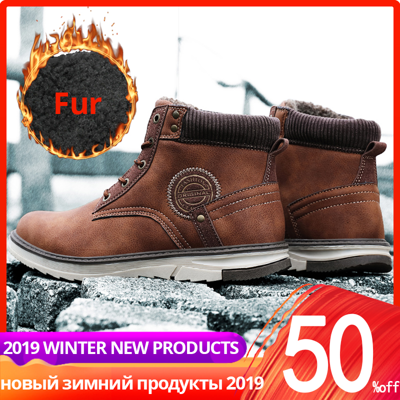 Winter Boots Men Casual High Quality High Top Ankle Warm Leather With Fur Plush Shoes Men Winter #XWA9712