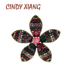 CINDY XIANG rhinestone flower brooches for women vintage retro pins party accessories high quality new arrival 2020
