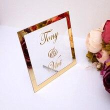 На заказ свадебные имя невесты зеркальная рамка Акриловые зеркальные приветственные гостей слово знак вечерние Декор тарелка с ногтей любой язык