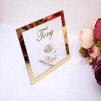 На заказ свадебное имя невесты зеркальная рамка акриловое зеркальное приветствие гостей знак слова декор для вечеринки пластина с гвоздем ...