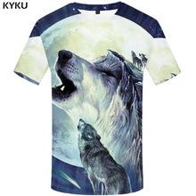 KYKU Wolf T-shirt Men Animal Tshirts Casual Moon Anime Clothes Abstract Tshirt Printed Cartoon Shirt Print Short Sleeve summer недорого