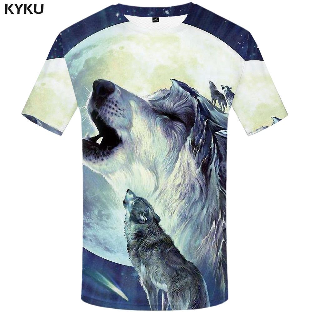 KYKU wilk koszulka mężczyźni zwierząt koszulki z nadrukiem  LSE6L