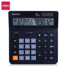 цена на Dual Power Desktop Calculator 12 Digits Widescreen Financial Calculator Black Calculadora Office Material Tools Caneta Escolar