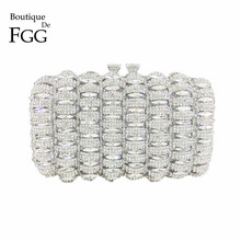 Boutique De FGG Dazzling Silver Crystal Clutch Evening Bags Women Party Prom Metal Minaudiere Handbag Wedding Purse Bridal Bag