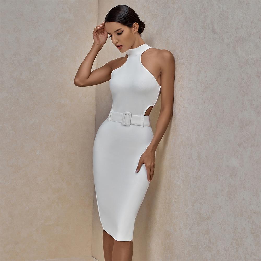 Ocstrade White Bandage Dress 2020 Summer New Arrival Women Sexy Midi Bandage Dress Bodycon Club Celebrity Evening Party Dress