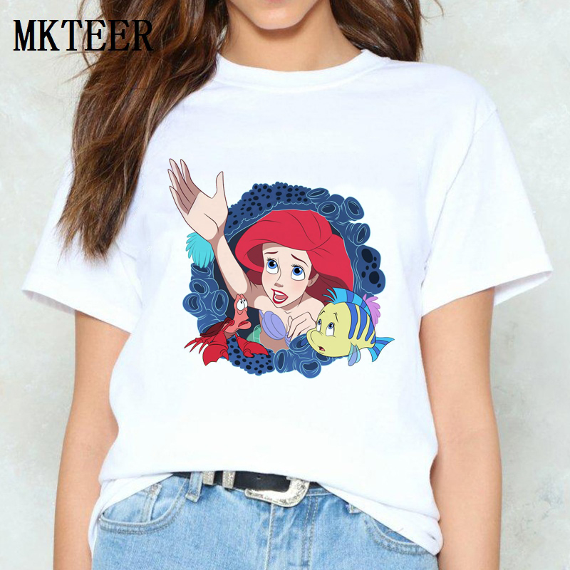 Women Summer Camiseta Mujer Little Mermaid Princess Ariel Aesthetic Ulzzang Print Tops Harajuku   T     Shirt   Casual Vogue Streetwear