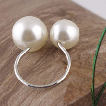 Cute Lovely U-shaped Pearl Ring Opening Adjustable Size Ring Elegant Adjustable Girls Ring Gift Clothes Accessories(China)