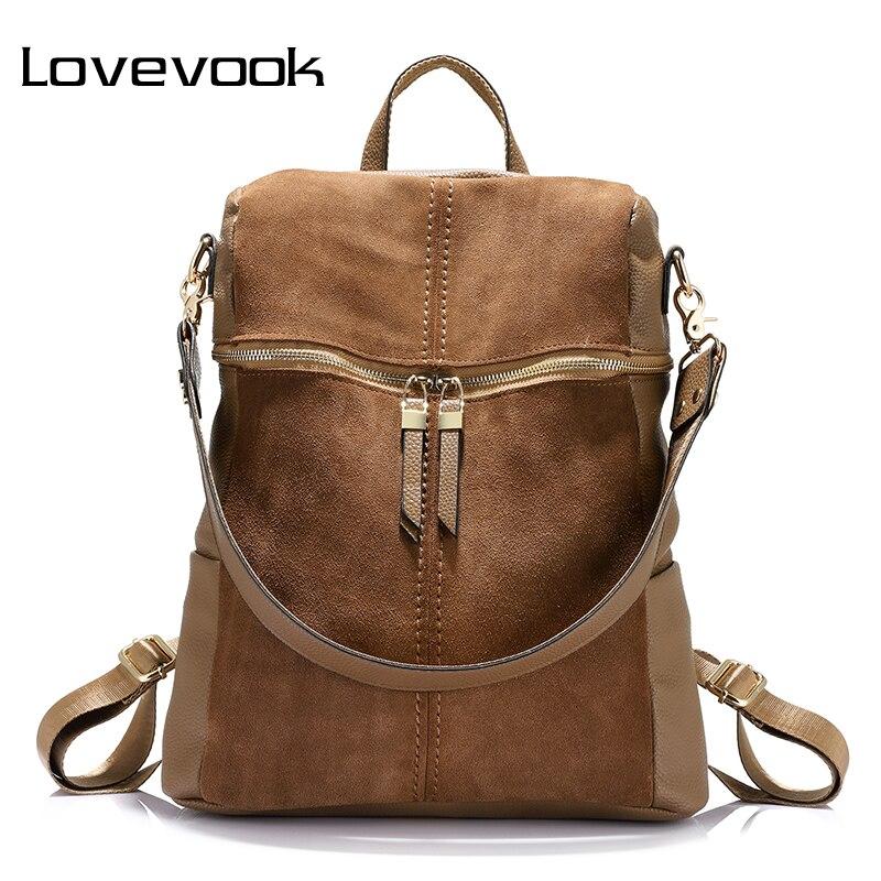 LOVEVOOK Women Backpack Shoulder-Bags Teenage-Girls Large-Capacity Vintage Nubuck PU