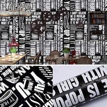 Самоклеющаяся настенная бумага с черными и белыми буквами для