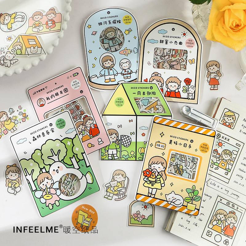 40pcs/1lot Kawaii Stationery Stickers With You Series Cute Wind Diary Decorative Mobile Stickers Scrapbooking DIY Craft Stickers
