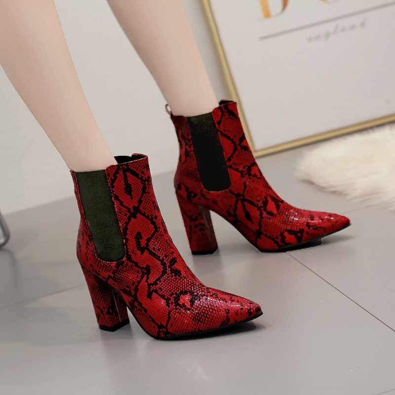 Shoes Women Chelsea Boots Snake Prints Pointed Toe Ankle Boot High Heels Short Booties Ladies High Quality Zapatos De Mujer in Ankle Boots from Shoes