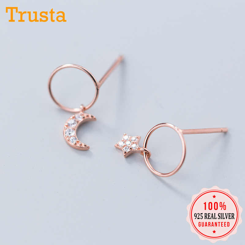 Trusta 100% 925 Solid Real Sterling Silver Asymmetric Hollow Round Star Moon Stud Earrings For Girl Women Silver Jewelry DS1257