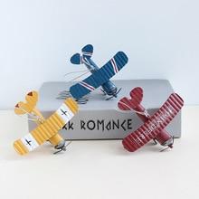 1 шт. металл мини-самолета самолетов декор веревкой детская комната украшения прекрасный плоскостей украшения дома миниатюрный аксессуары