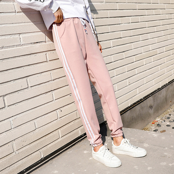 NEW Casual Running Exercise pants Dance Female Side lines Sweatpants sports Women Trousers Fitness Loose Harem Pants G326 2019 summer big code harem pants skinny students thin sports pants female loose white side nine points casual women pants