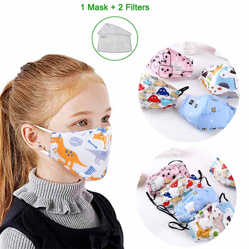PM2.5 Kids Face Mask For Children Mask Anti Dust Cartoon Fashion Cute Mask Activated Carbon Filter Breathing Valve Mouth Masks