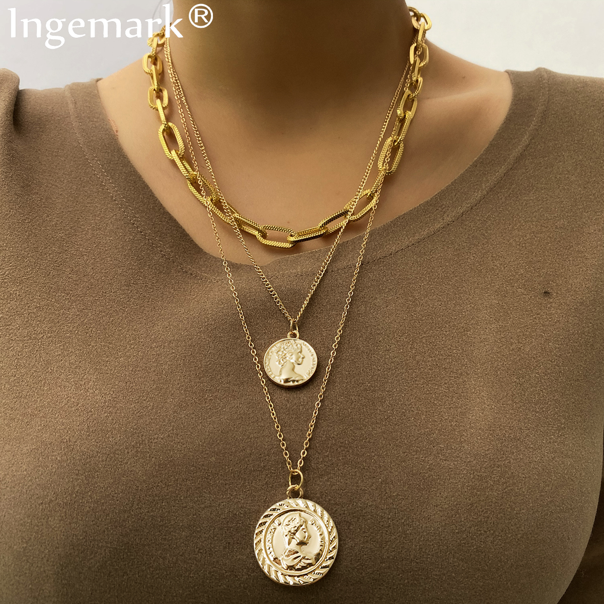 Bohemian Big Coin Pendant Choker Necklace Colar Statement Vintage Multi Layered Angel Lock Chain Necklace Women New Year Jewelry