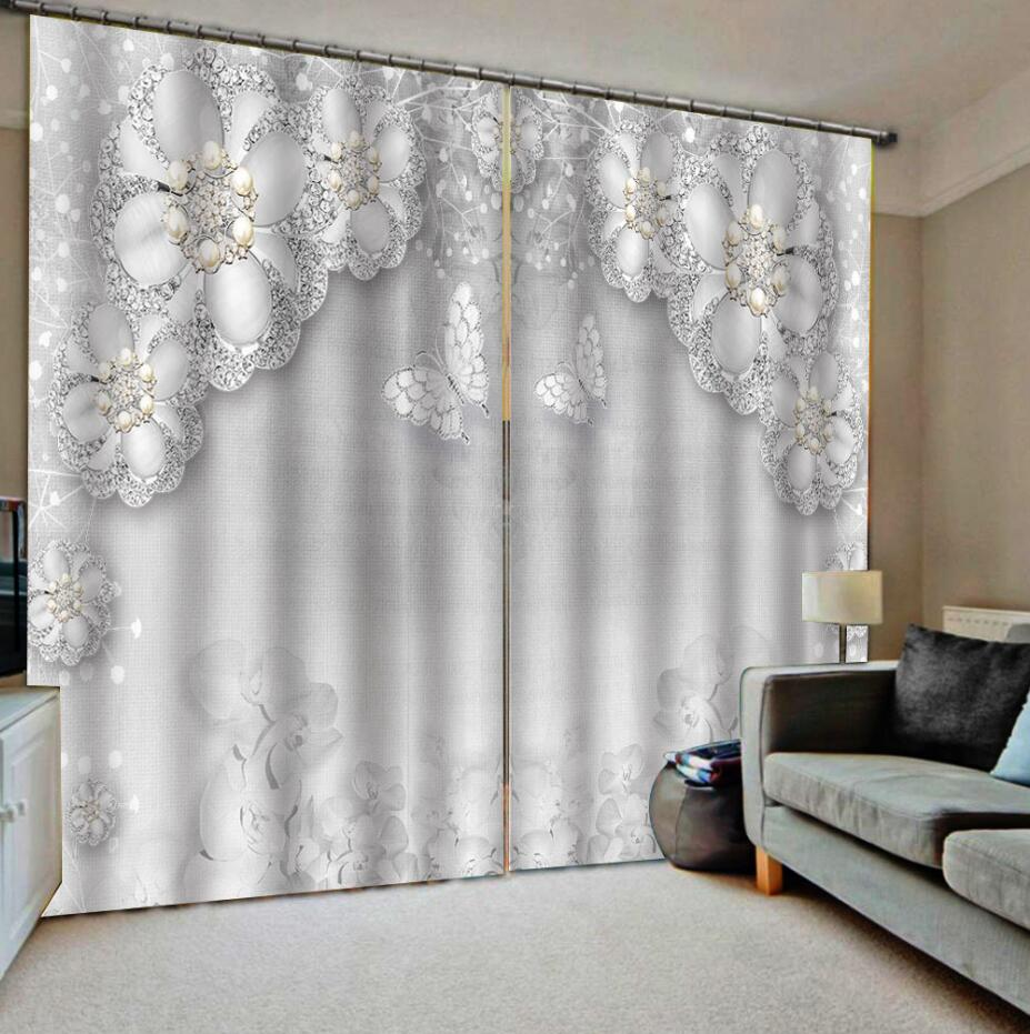 Sliver Blackout Curtains Rhinestone Curtain  Bedroom 3D Window Curtain Luxury Living Room Decorate Cortina
