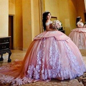 Роскошное милое розовое платье Quinceanera 16, бальное платье с белой аппликацией, бальное платье для выпускного вечера, многослойные маскарадные...