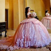 Роскошное милое розовое платье quinceanera 16 бальное с белой