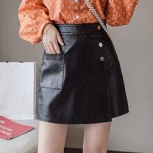 Simple Pocket PU Leather Skirt Winter Autumn 2019 New S-XL Button Black A Line Slim Mini Falda Mujer Chic Women Skirt High Waist trendy women s elastic waist pu leather spliced skirt