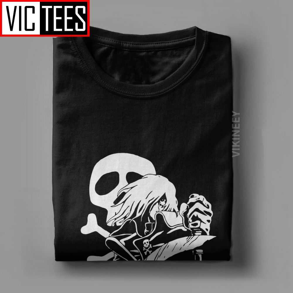 Camiseta Harlock con estampado de calavera pirata espacial, Camiseta de algodón puro con estampado de capitán Manga, camisetas 3D para Hombre