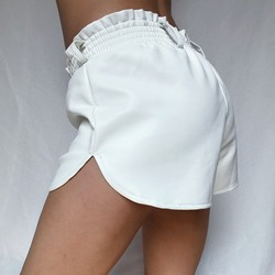 Elastic High Waist White Leather Shorts Women Loose Faux Leather Runner Shorts Autumn Streetwear Sexy Wide Leg Shorts For Women