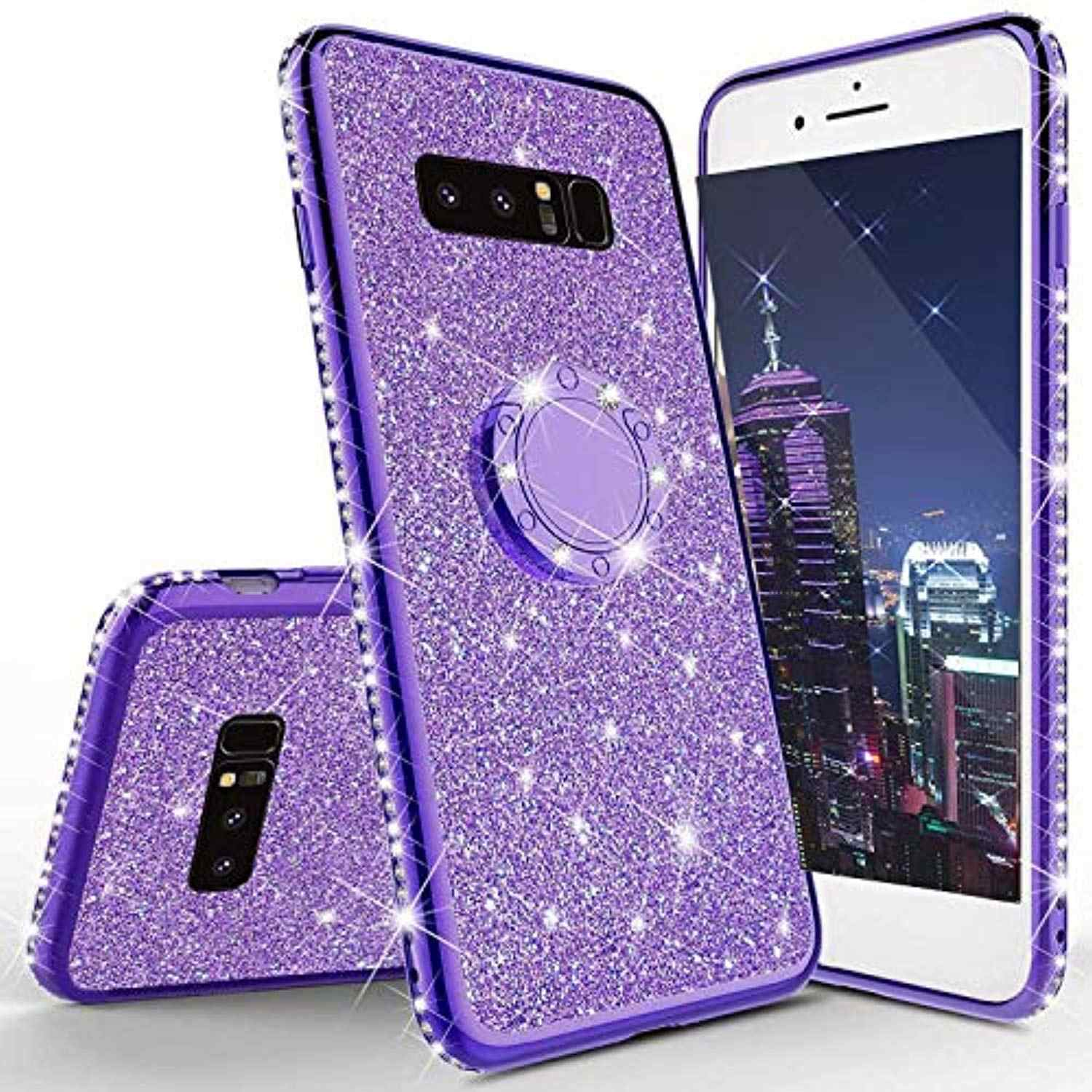 Luxury Ring Holder Stand Diamond Case for Samsung S10 Plus 5G S10E S9 S8 Note 10 Pro Cover TPU Soft Glitter Plating Phone Cases