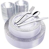 60 Pcs Einweg Geschirr 7,5 in und 10,25 in Silber Spitze Kunststoff Platte Kunststoff Besteck Kunststoff Tasse Hochzeit Partei Liefert