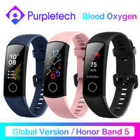 Globale Version Honor Band 5 Band5 Smart Armband Blut Sauerstoff Echtzeit Herzfrequenz Monitor 0,95 ''AMOLED Bildschirm 5ATM Wasserdicht