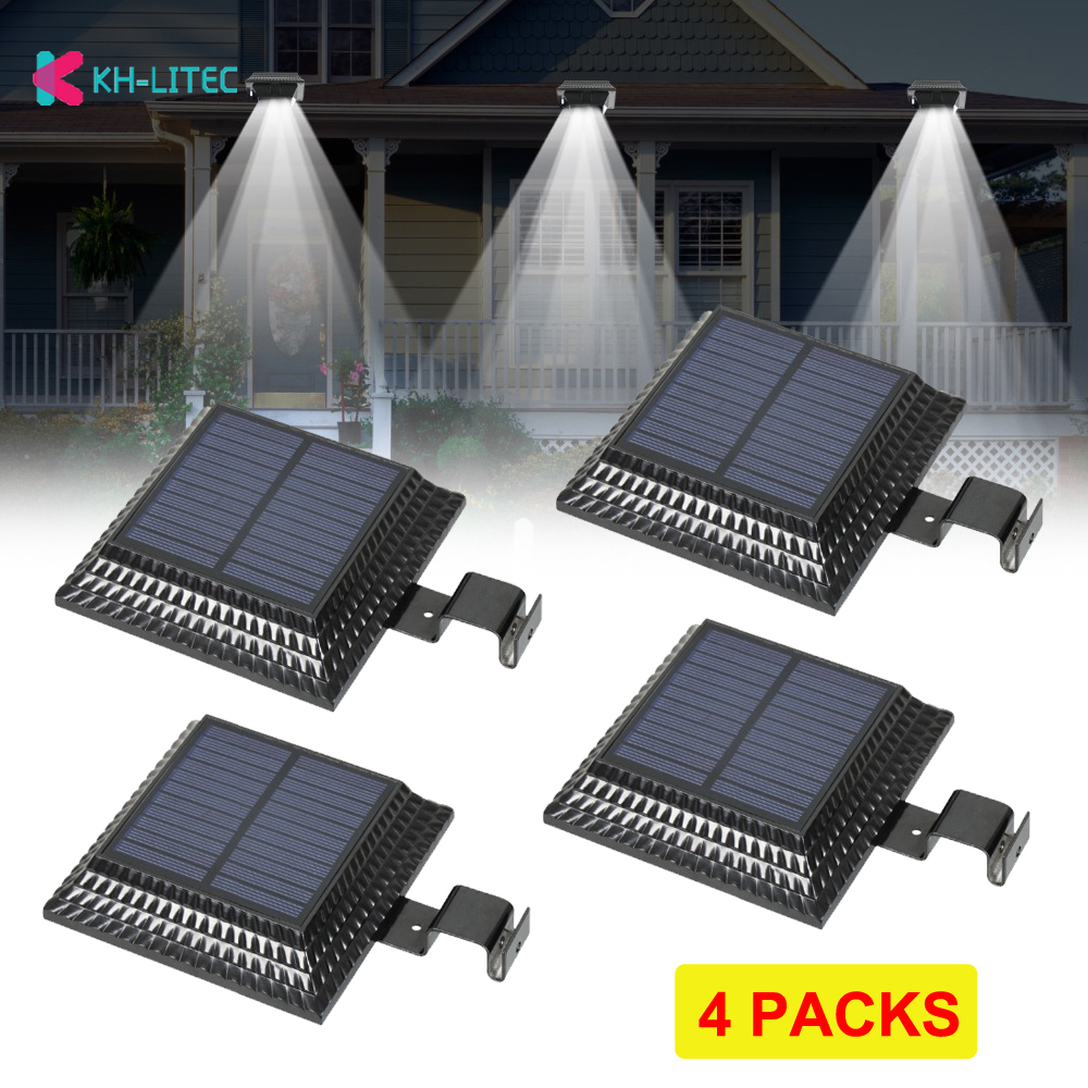 KHLITEC 4PCS 12 LED Solar Gutter Light Lamp For Outdoor Garden Fence Security Lawn Light Sensor Outdoor Lighting Wall Lamps