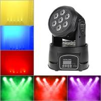 Lumière à tête mobile 105W 7 LED RGBW 4 en 1 lavage éclairage de scène DMX512 9/14 canaux pour DJ Disco fête