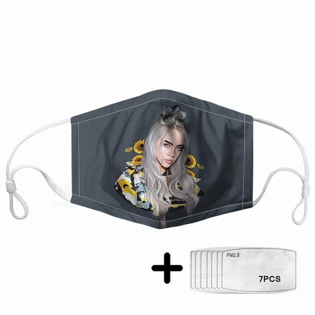 Hip-hop Billie Sunflower Print Women Mouth Mask 7pcs PM2.5 Filters Kpop Rapper Star Elastic Comfortable Masque For Kids Children