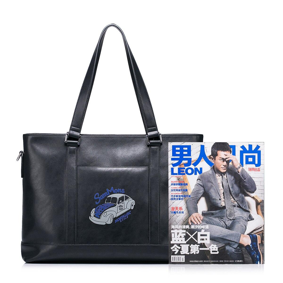 Винтажный Мужской портфель из натуральной кожи, сумка мессенджер для ноутбука, мужские многофункциональные сумки на плечо, вместительные д... - 4