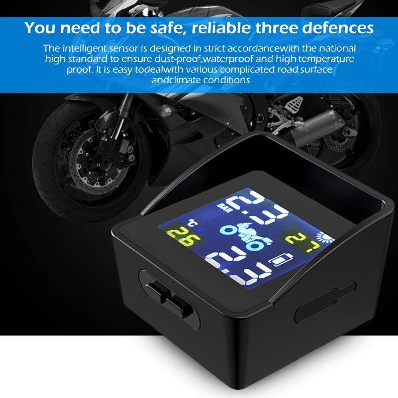 lowest price Universal Solar Charging TPMS Tire Tyre Pressure Monitoring Alarm System Motorcycle Replacement Parts with 2 Sensors