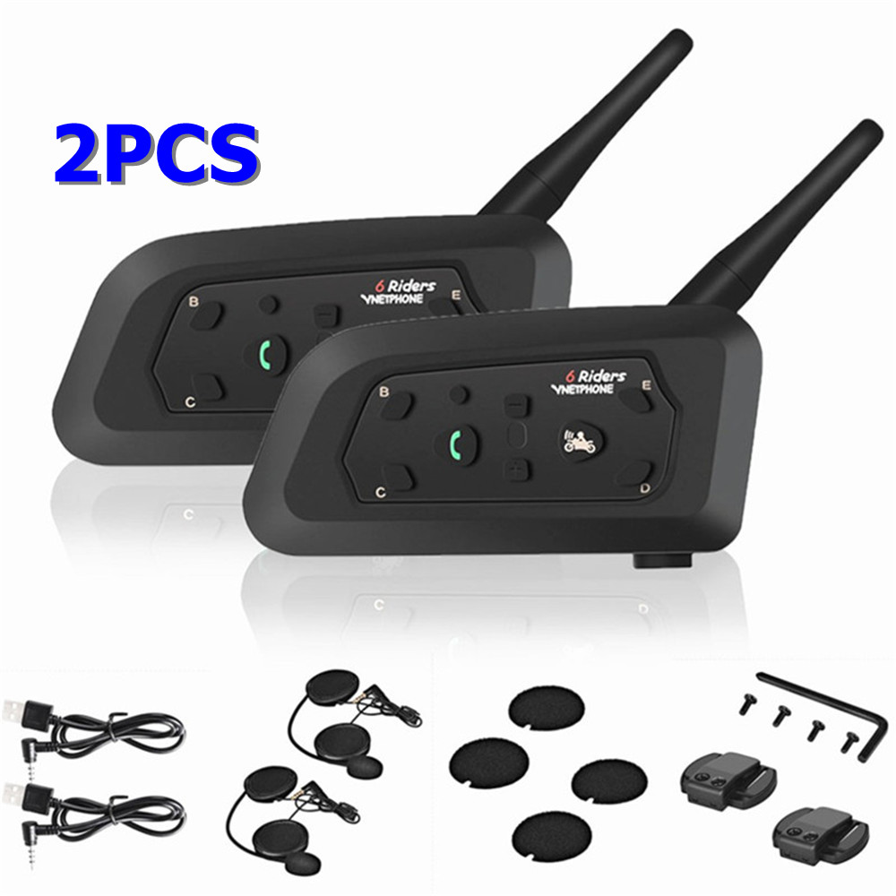 2PCS Motorcycle Helmet Intercom Helmet For Motorcycle Helmet Interphone Motorcycle Intercom Headphones Wireless Intercomunicador