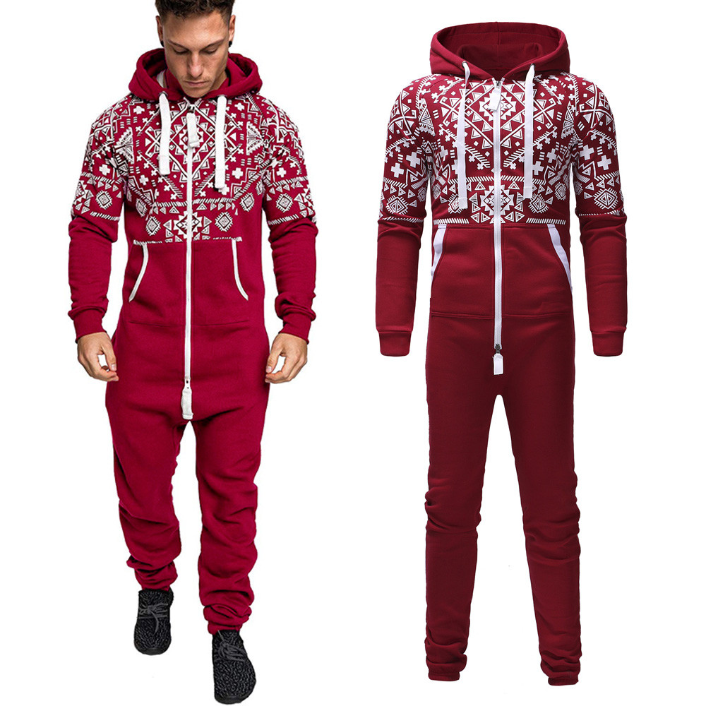 Men Jumpsuits Hoodie Print Zipper Print Sleepwear Pockets Xmas Autumn Winter Casual Hoodie Print Christmas Zipper Print Jumpsuit