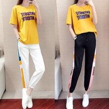 Бегунов с коротким рукавом t рубашки два кусок костюмы женщин спортивные брюки брюки шаровары женщины устанавливает высокое Васит плюс размер 5XL