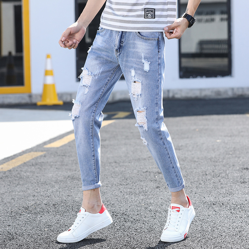 New Style With Holes Jeans Men's Fashion Slim Fit Pants Casual Ripped Jeans Capri Pants Men's Korean-style Trend 811-819