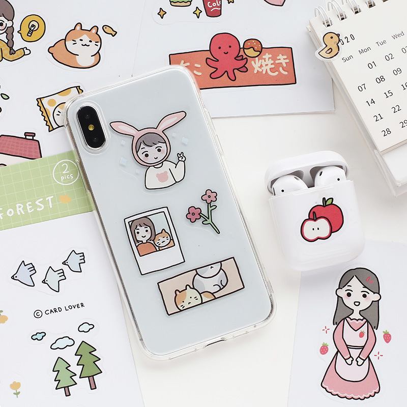 SIXONE Cartoon Girl Cute Sticker Series Student Notebook Phone Shell Hand Account Kawaii Decorative Label Stickers Stationery