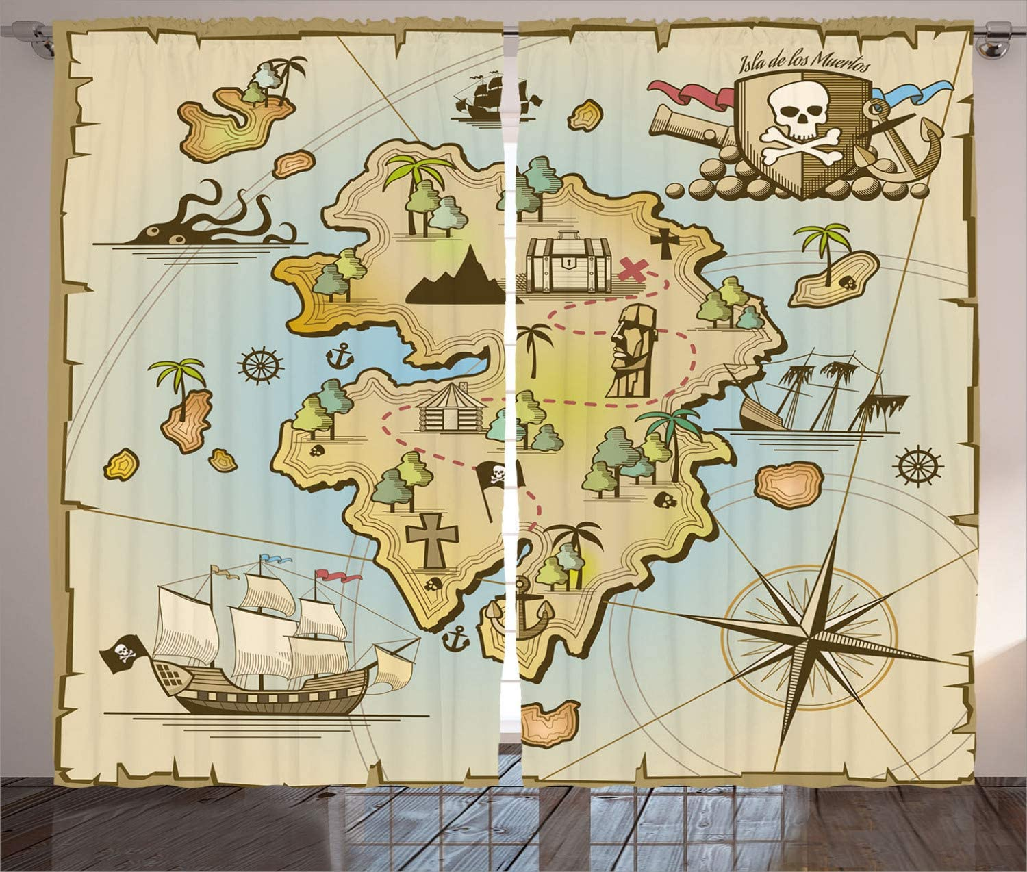 Island Map Curtains Cartoon Treasure Island Pirate <font><b>Ship</b></font> Chest Kraken Octopus Nautical Kids Design Living Room Bedroom Window image