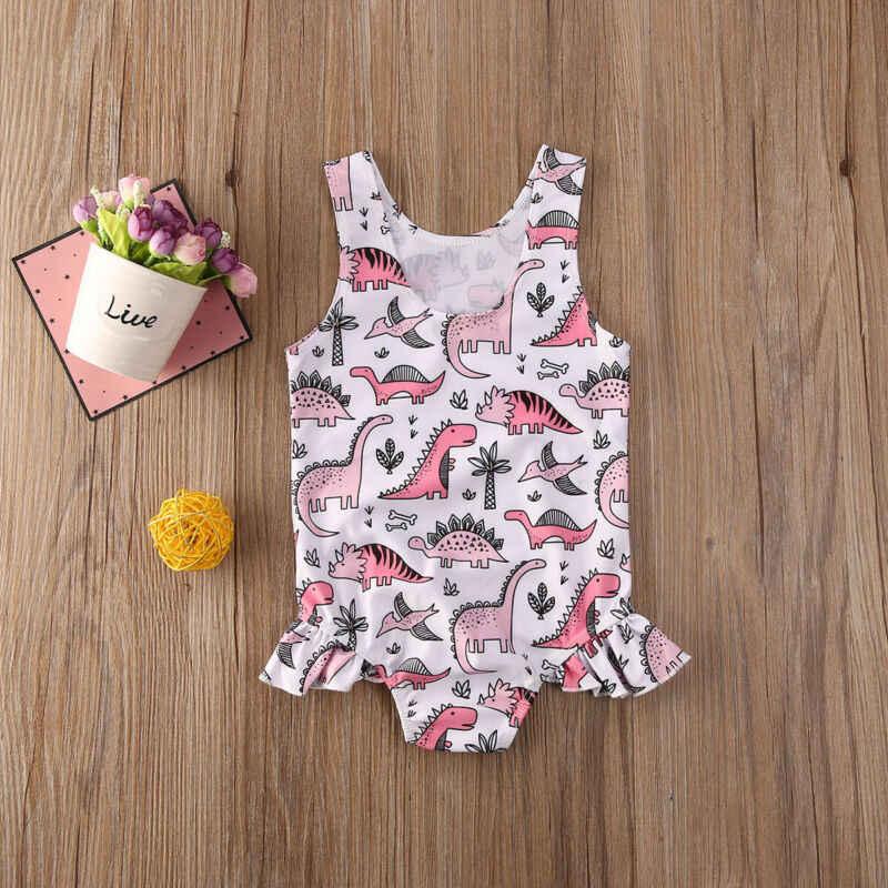 2020 Musim Panas Baju Renang Balita Bayi Anak-anak Gadis Pantai Baju Renang Pakaian Renang Bikini Set Dinosaurus Baju Renang Satu Potong Tnkini